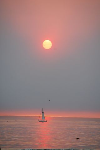 Sunset Fire Day, Sailboat