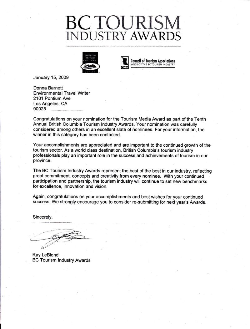 bc tourism industry awards nomination letter