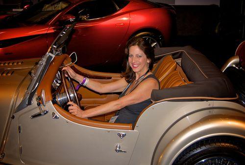 Donna Barnett in Morgan Roadster 2010 LA Auto Show