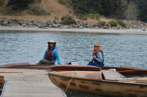 Donna and Pat in Redwood outrigger on Big River