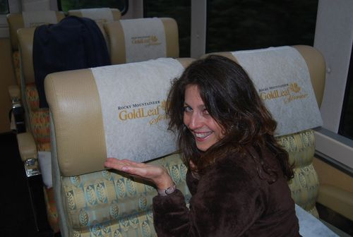 Donna on rockymountaineer train