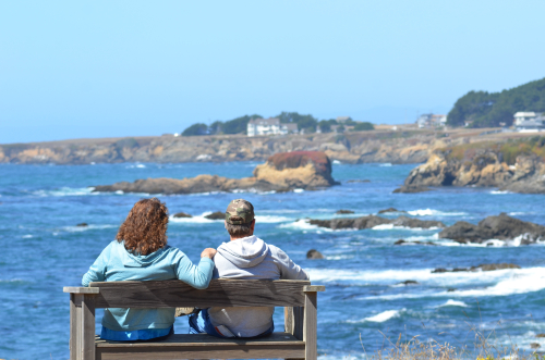 Couple Enjoys View from Mendocino Coastal Botanical Garden Bluffs